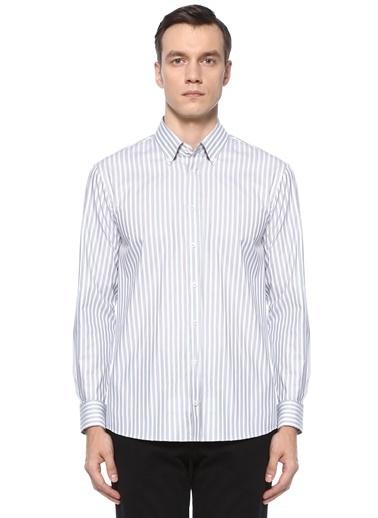 Beymen Collection Beymen Collection Comfort Fit  Polo Yaka Çizgi Desenli Gömlek 101521085 Yeşil